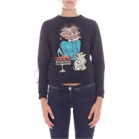 Black sweatshirt with multicolor sequined embroidery - Womens Sweatshirts Q5BQvrMe