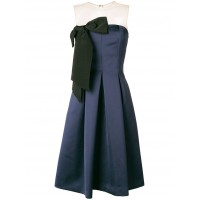 P.A.R.O.S.H. Bow Front Midi Dress - 012 BLUE - Womens Cocktail Dresses GHQCSSOO