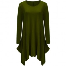 Asymmetrical Long Sleeve T Shirt Casual Dress - Army Green L IYKEUAM
