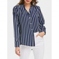 Asymmetrical Striped Button Up Shirt - Deep Blue L OSMPNFH