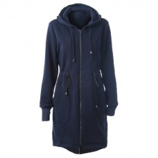 Autumn Casual Hooded Long Sleeved Drawstring Long Coat - Cadetblue 2xl XHCEQKP