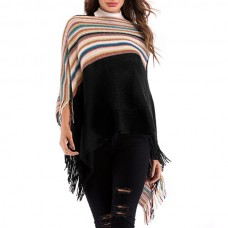 Autumn Coloured Loose Loose Fringed Knitted Shawl Cardigan Blouse - Black One Size XDNBHZB